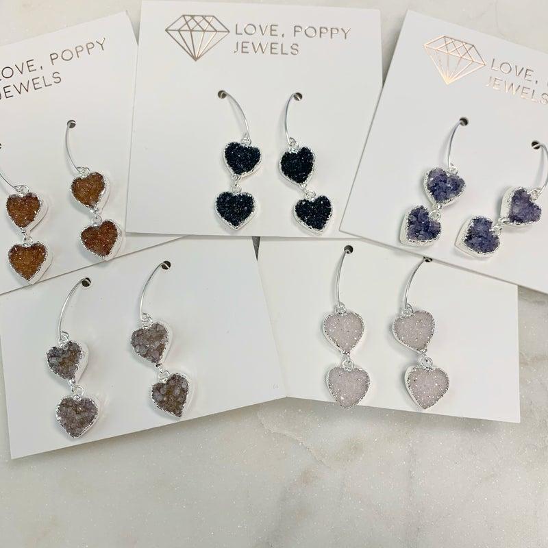 Love Poppy Double Heart Druzy Earrings - Silver