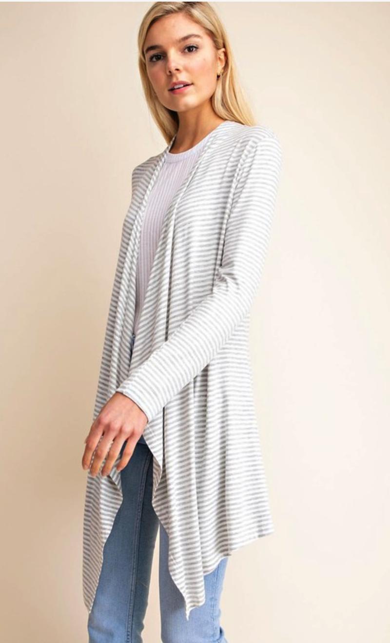 Striped Knit Draped Cardigan