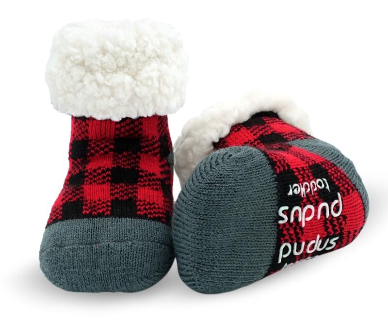 Pudus Red Buffalo Plaid Slipper Socks - Toddler