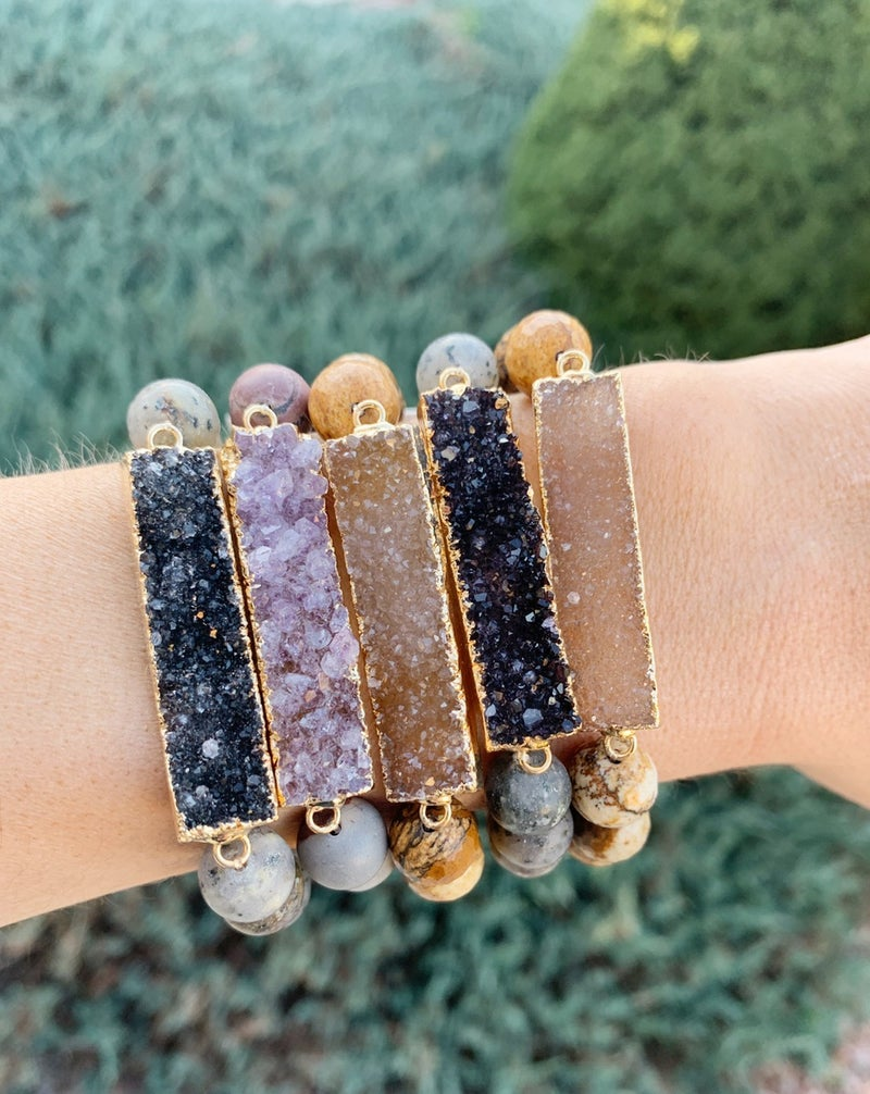 Druzy Thin Bar Bracelet
