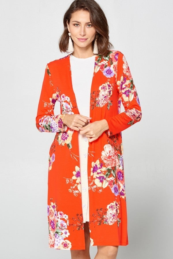 Floral print duster cardigan