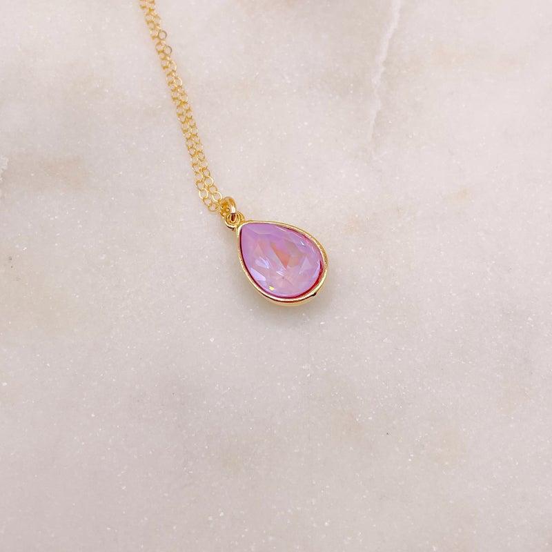 Love Poppy Swarovski Teardrop Necklace - Gold