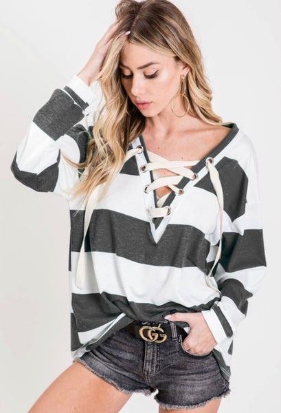 A Little Bit Of Me Sweatshirt - Black And White Stripe