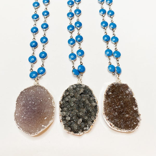 Gun Metal Chain Blue Enamel Oval Druzy Necklace