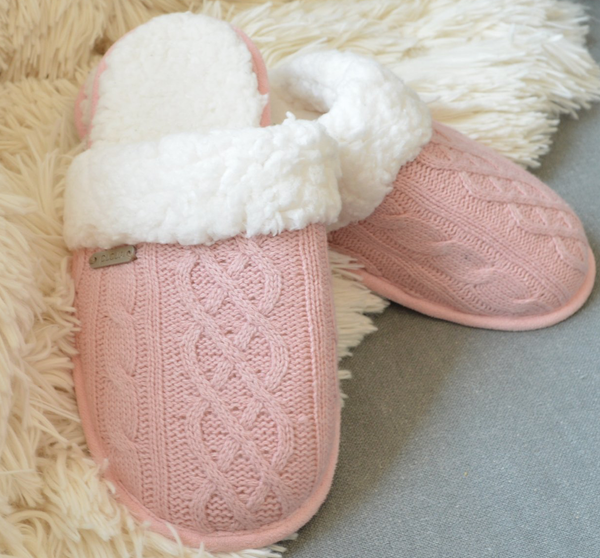 Pudus Cable Knit Slipper - Blush