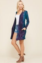 Long Sleeve Tie Dye Cardigan w/Front Pockets