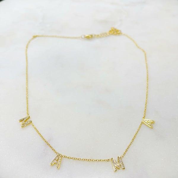 Oak & Ivy MAMA CZ Stones Necklace - (2 Colors)