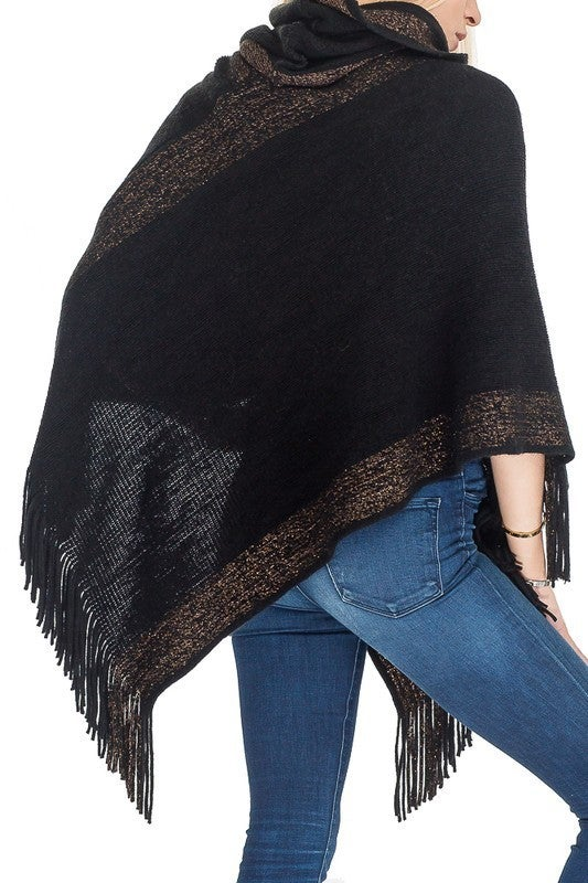 Shimmer Accented Turtle Neck Cashmere Feel Super Softness Poncho