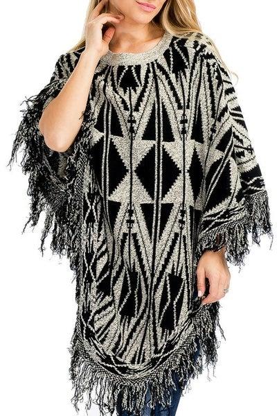 Tribal Print Crew Neckline Poncho