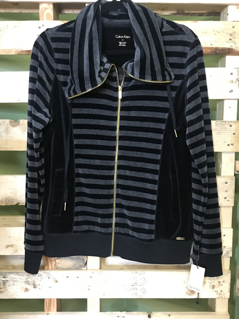Calvin Klein Stripe Zip Up Sweatshirt