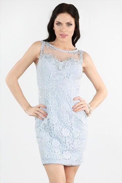 Beaded Sheer Yoke Lace Dress