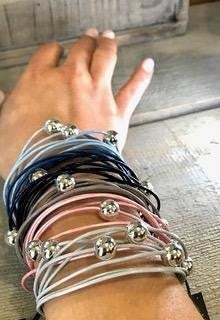 Multi Cord magnetic close Bracelets With Silver Bead