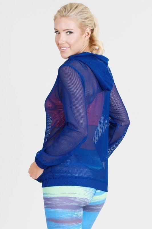 Fishnet Zipper Hooded Jacket
