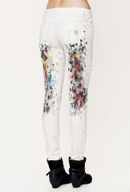 Free People Off White 5 Pocket Painted Cord Skinny Jeans