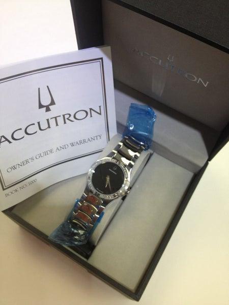 Bulova Accutron 26r42 Belize Diamond Silver Band Black Dial Women's Watch