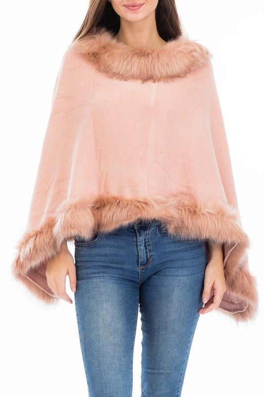 Womens Faux Fur Sweater Poncho - Cape Winter Luxe Trim Shawl
