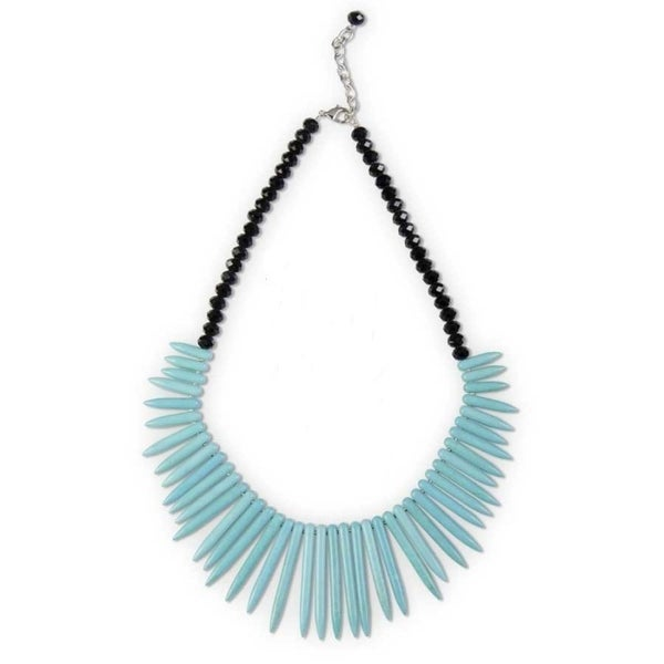Turquoise Points and Black Crystal Necklace