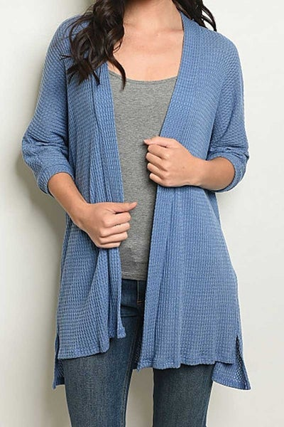 Open Front Waffle Knit Cardigan