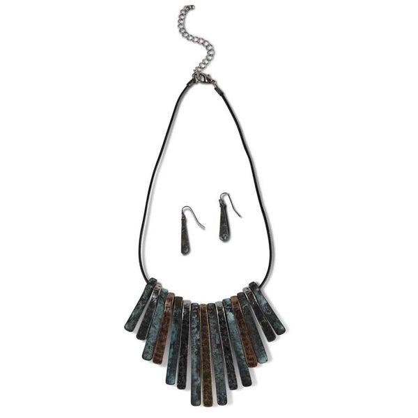 Four Color Metal Strands Necklace