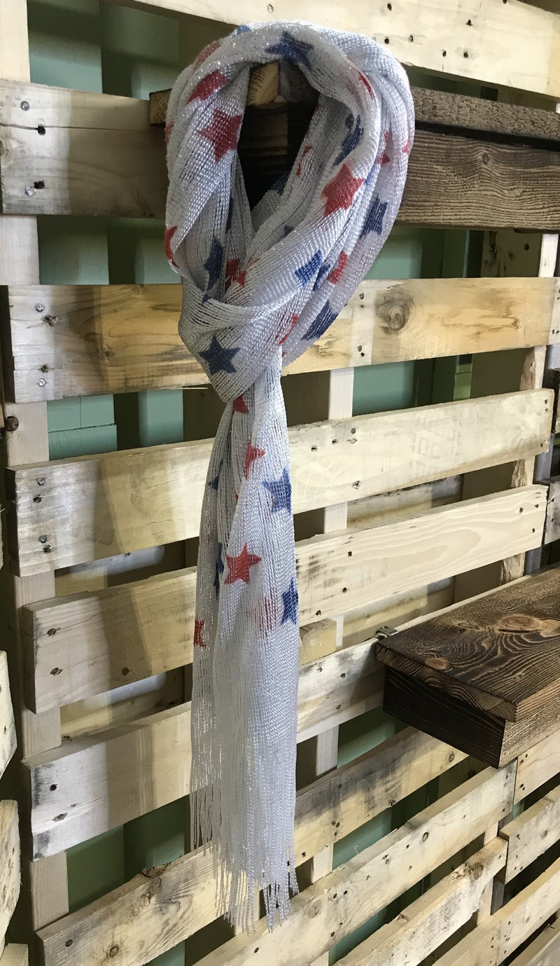 Red White and Blue Star Scarf