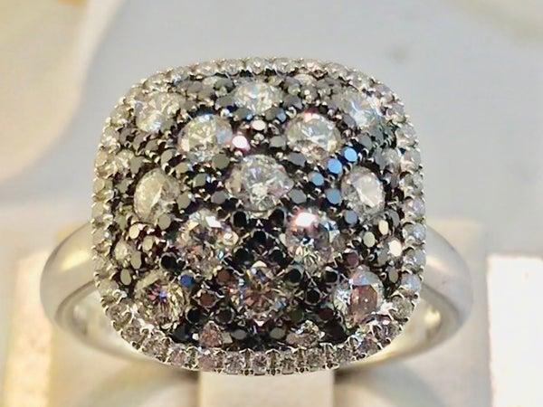 Checker Board Black and White Natural Diamond Ring 18K