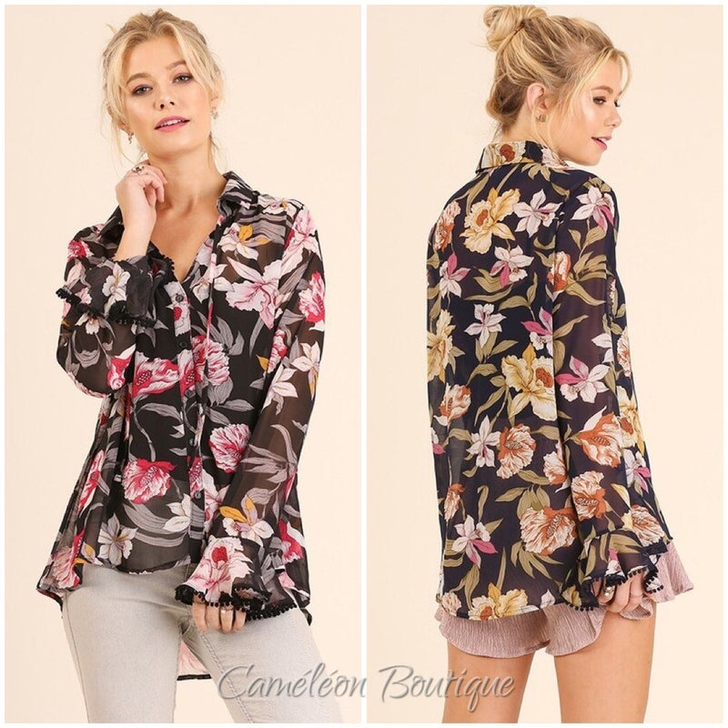 Floral Print Button Up Top with Pom Pom Trimmed Long Sleeves