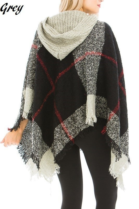 Plaid Pattern Thick Knitted  Poncho