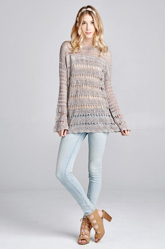Sheer Crochet Lace Knit Top