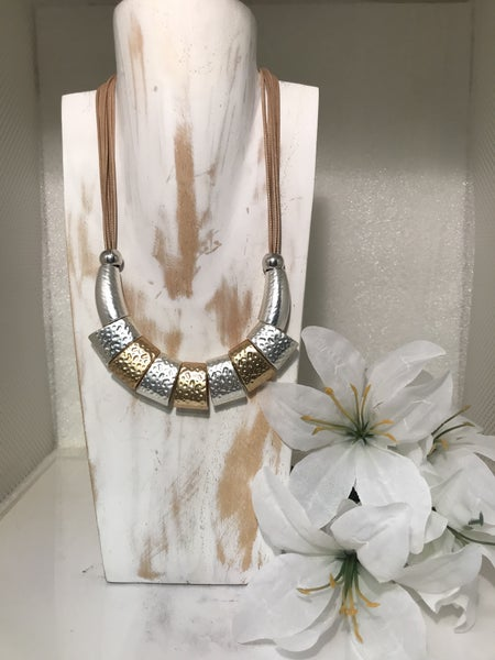 Gold and Silver Beaded Necklace