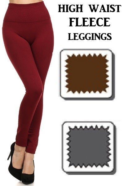 Full Length Seamless FLEECE Leggings with Tummy Control