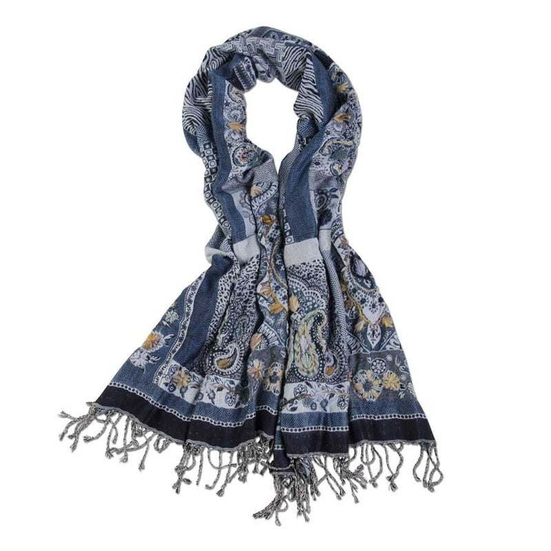 Blue Hand Stitched Paisley Scarf