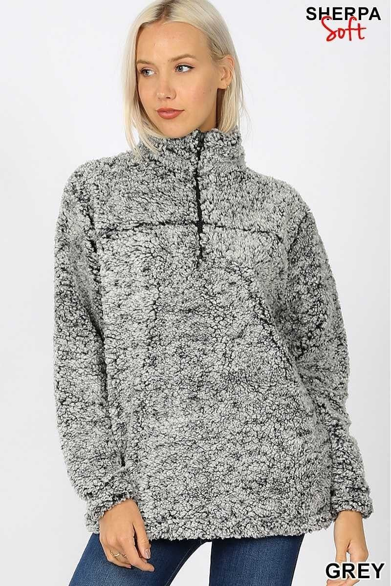 Crazy For Plum Soft Sherpa Half Zip W/Side Pockets