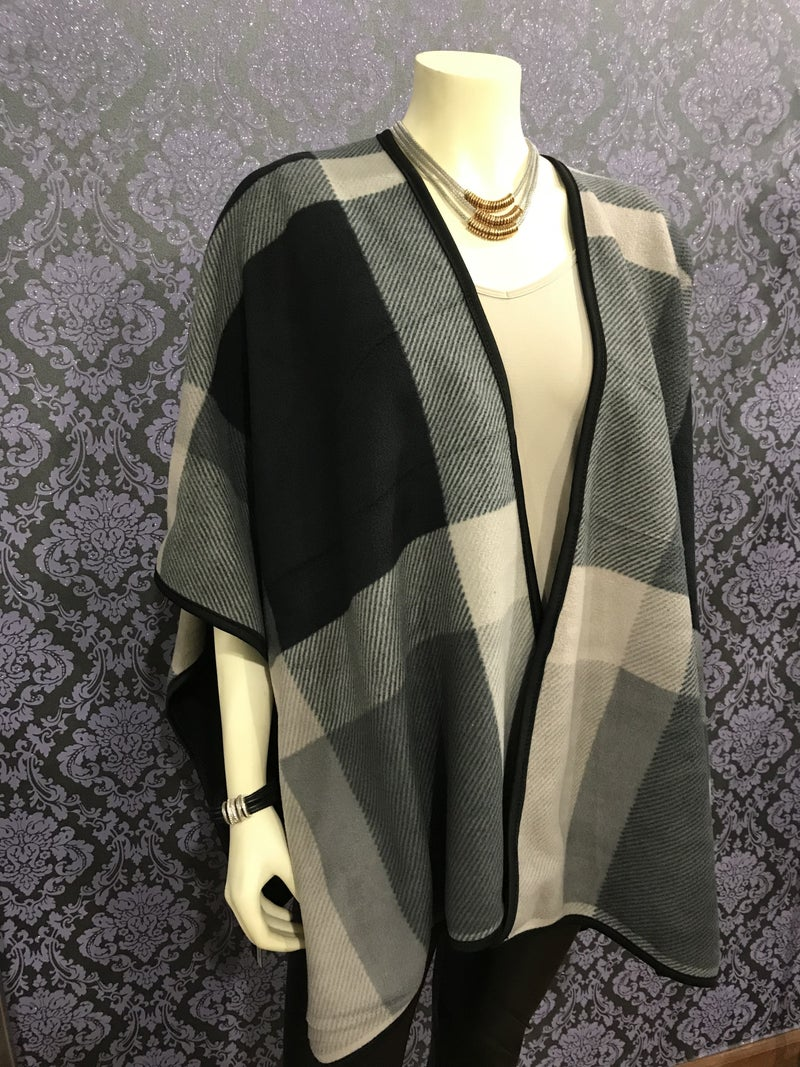 Grey Plaid Black Soft Touch Woven Cape
