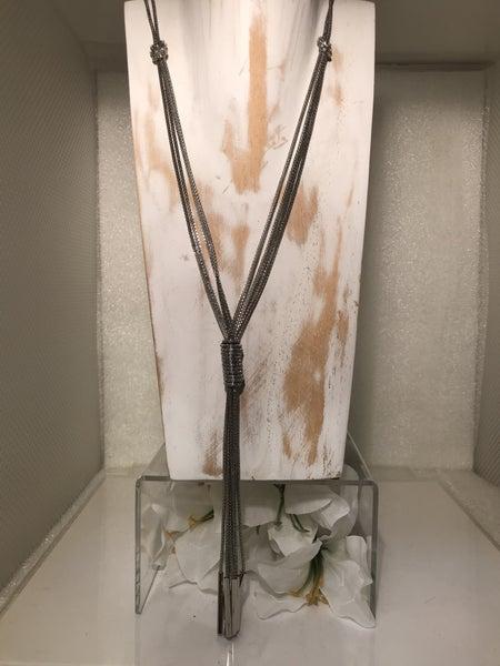 Silver Tie Tassel Necklace