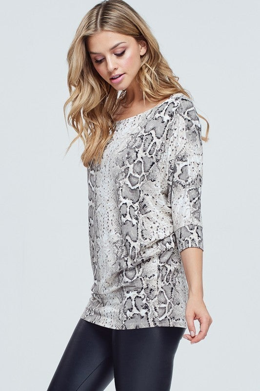 Dolman Sleeve Snake Print Knit Top