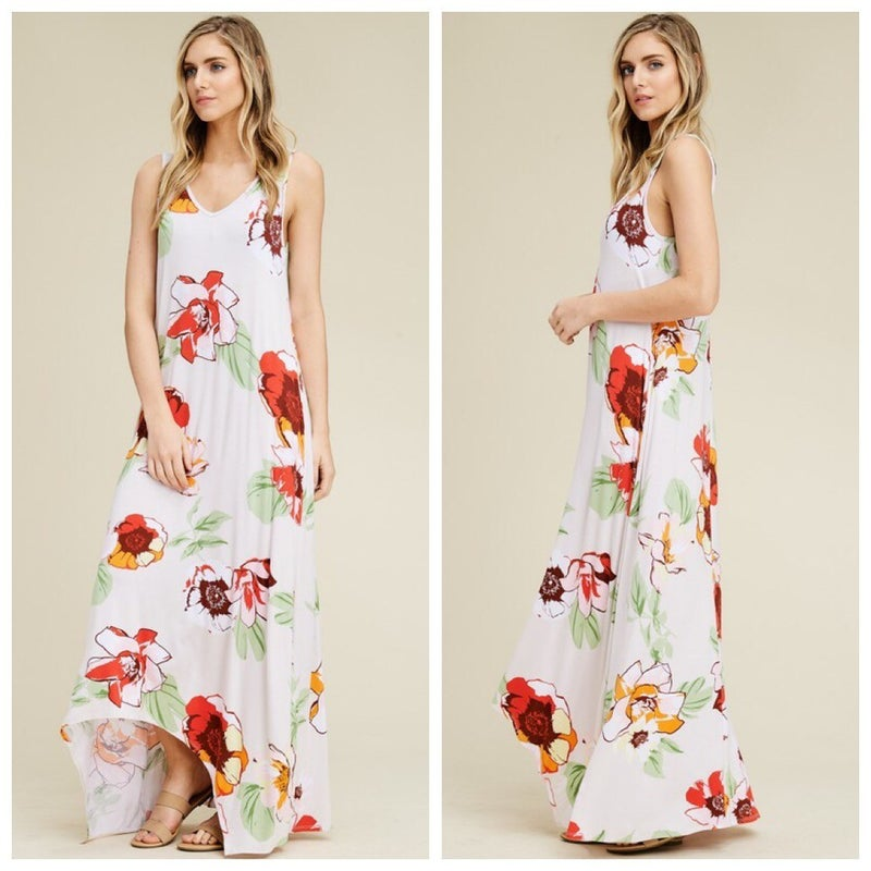 Floral Sleeveless Tank Hi Lo Scoop Neck Maxi Dress
