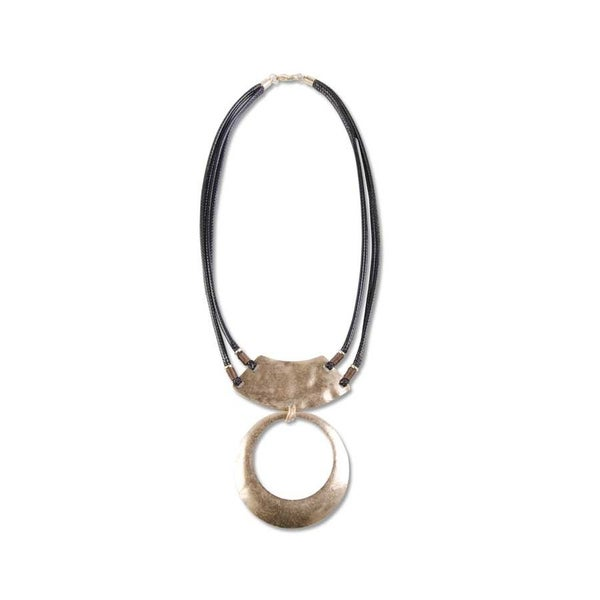 Black Cord with Gold Arc and Circle Necklace