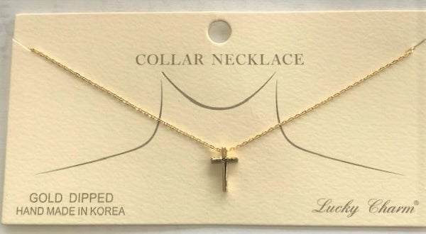 DAINTY CROSS CHARM COLLAR NECKLACE
