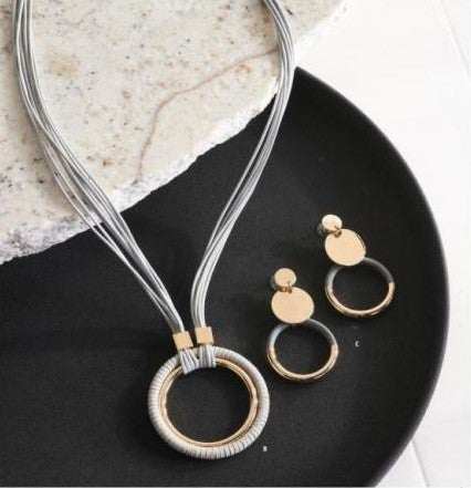 Tan or Black Cord with Wrapped Tan or Black Gold Circle
