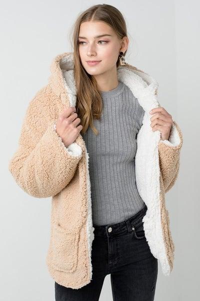 Reversible Teddy Faux Fur Sherpa Fleece Jacket