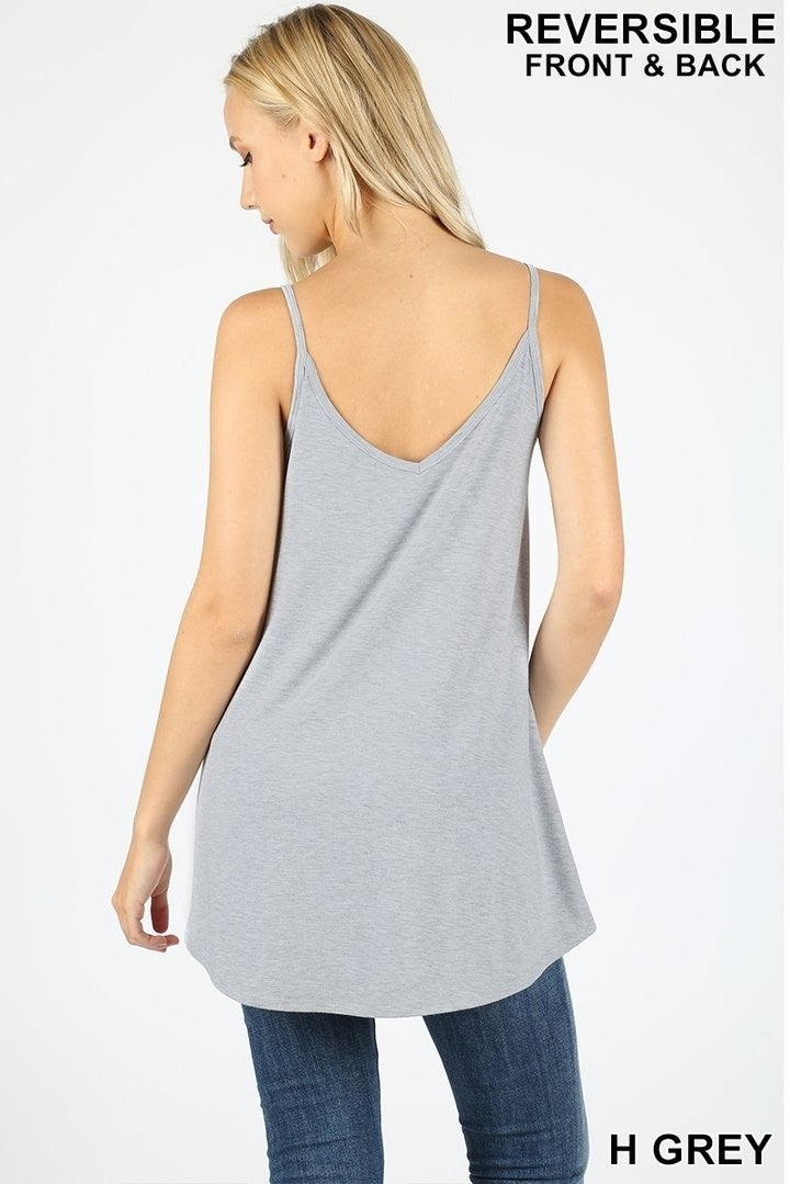 V-NECK/SCOOP-NECK FRONT & BACK REVERSIBLE SPAGHETTI CAMI