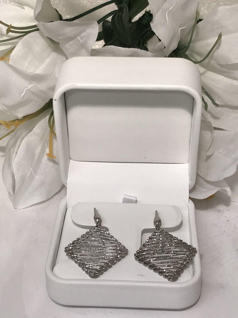 Sterling Silver Wrapped Square Earrings