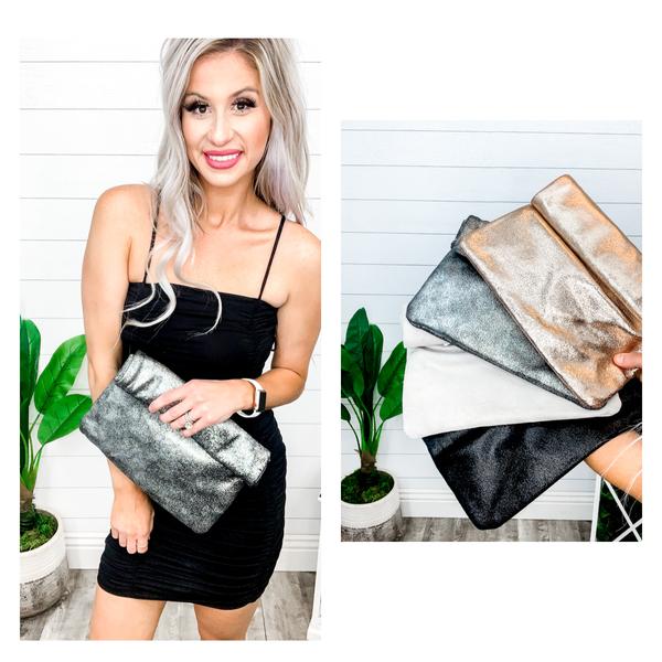 Rolled Top Shimmer Handbag