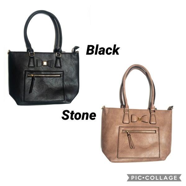 Small Bow Front Handbag Set with Front Zipper Pocket