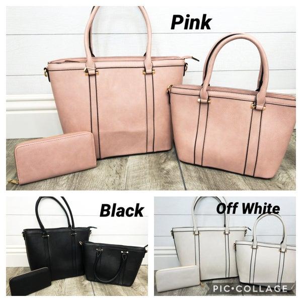 3-in-1 Double Accent Stripe Handbag