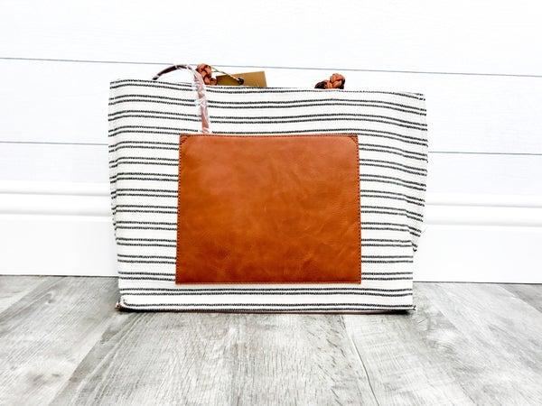 Double Stripe Braided Strap Handbag