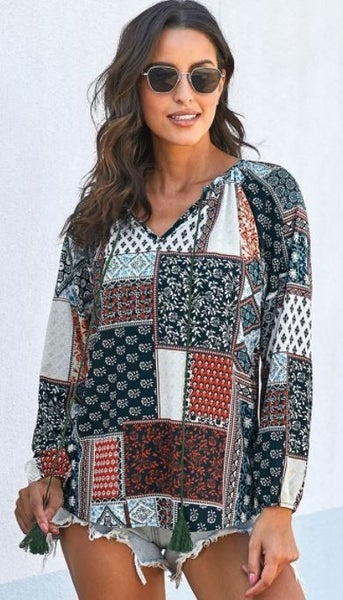 Shewin Multi Patterned V Neck Top with Rope Neck Tie Deetail