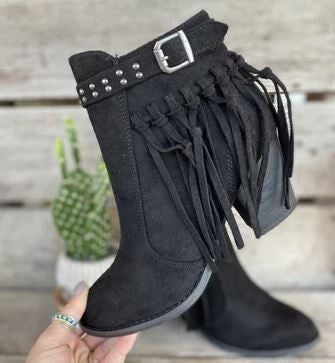 "Very G Black ""Whistle"" Tassle Boots"