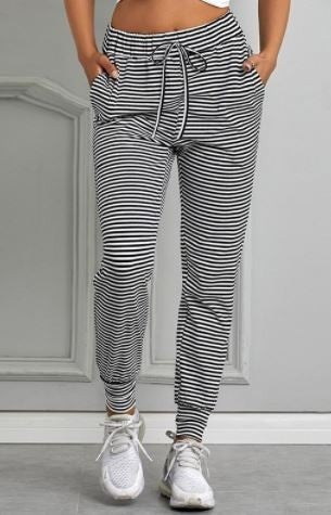 Shewin Striped Jogger Pants