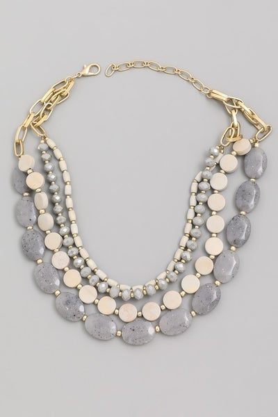 Layered Assorted Bead Statement Necklace